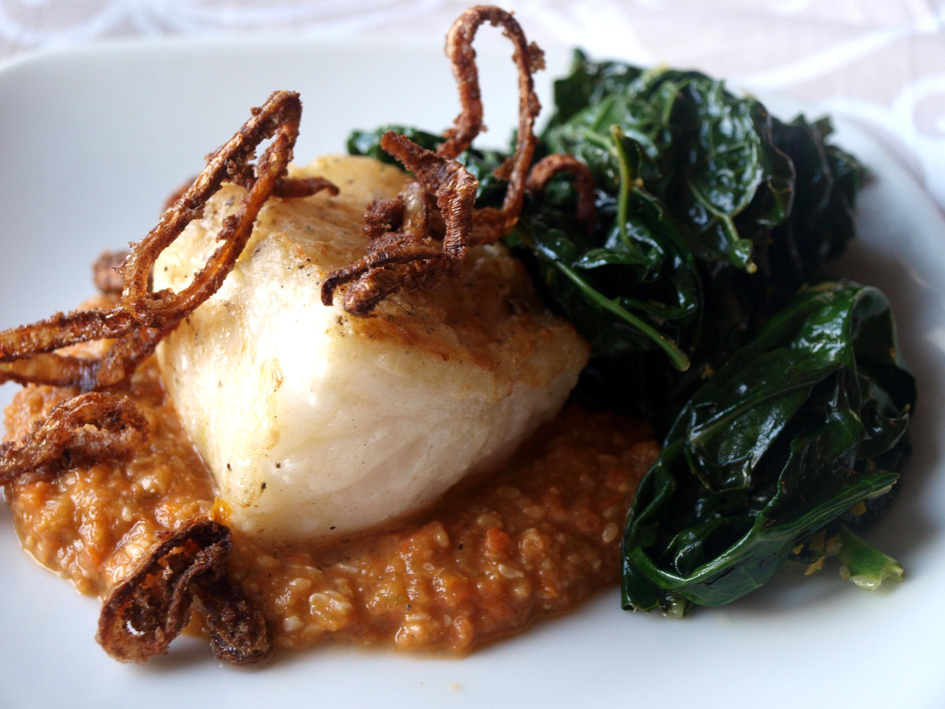 Cod with sesame seed bagna cauda and lacinato kale u callan loves